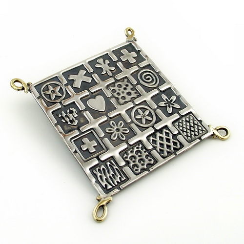 Large Oxidised Square Silver Brooch